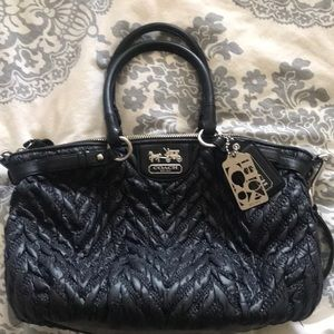 Coach Quilted Madison Quilted Leather Bag Black